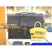 HERMES Sac A Depeche 38 Briefcase Black Fjord Leather