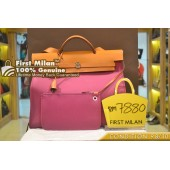 HERMES Herbag ZIp Large Two Way Bag with Pouch ' O Stamp '