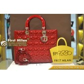 CHRISTIAN DIOR Lady Dior Large In Red