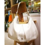 BURBERRY White Leather Hobo Bag