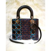 CHRISTIAN Lady Dior Sequined Jacquard Bag