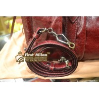 MIU MIU Vitello Lux Shopper Bag In Maroon