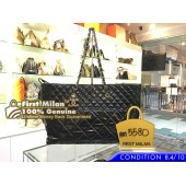 CHANEL Black Quilted Patent Vinyl In The Business Large Tote