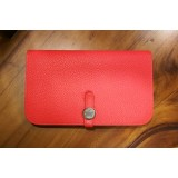 HERMES Calfskin Leather Dogon Duo Wallet