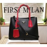 PRADA Saffiano Two-tone Double Bag