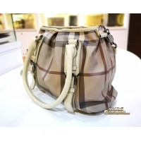 BURBERRY Small Smoked Check Tote with Strap