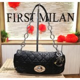 CHRISTIAN DIOR Black Lambskin Cannage Bag with Silver Hardware