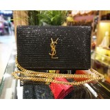 YVES SAINT LAURENT Kate Monogram Sparkle Wallet On Chain (WOC)