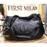 CHANEL Calfskin Leather Black Shoulder Bag