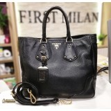 PRADA Calf Leather Black Two Way Bag
