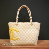 CHANEL Cambon Ligne Quilted Tote in Beige