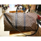 LOUIS VUITTON Monogram Canvas Macassar Bandouliere Keepall 55