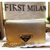 PRADA Saffiano Lux Platino Wallet On Chain