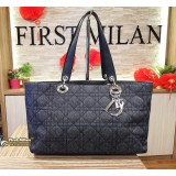 CHRISTIAN DIOR Denim Quilted Cannage Tote Bag