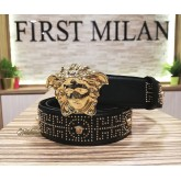 VERSACE Medusa Stud Leather Belt (Size:90/36)