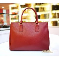 (Maroon) PRADA Saffiano Lux Double Zip Medium Tote