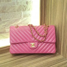 CHANEL Pink Chevron Medium Classic Double Flap In Lambskin