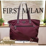 PRADA Tessuto Nylon Burgundy Two-way Bag (W/O Card)
