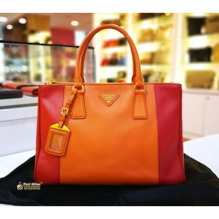 e10fa18a9c5 PRADA Saffiano Lux Red & Orange Double Zip Medium Tote (W/O Strap)