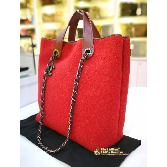 e46cf76d45a1 CHANEL Red Quilted Pop Felt Bag
