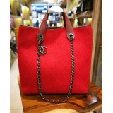 CHANEL Red Quilted Pop Felt Bag