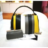PRADA Baiadera Frame Striped Leather Tote Bag