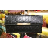 GUCCI Continental Wallet With Gucci Trademark Engrared Metal Plate