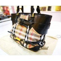 BURBERRY Small Leather & House Check Tote Bag