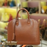 LOUIS VUITTON Epi Leather Brown Alma PM