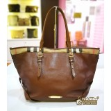 BURBERRY Medium Leather & House Check Tote Bag