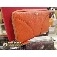 SALVATORE FERRAGAMO Orange Leather Zippy Wallet