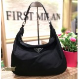 PRADA Black Nylon Hobo Bag
