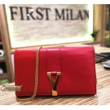 YSL Red Leather Y Wallet On Chain (WOC)