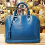 LOUIS VUITTON Epi Leather Alma Cyan