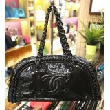 CHANEL Black Patent Leather Shoulder Bag
