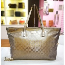 GUCCI GG Large Tote Bag (Metallic Silver)