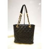 CHANEL Caviar Petite Shopping Tote In GHW (PST)