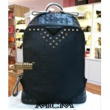 MCM Duke Black Embossed Leather Backpack