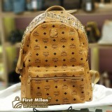 MCM BROWN Studded Lux Backpack (Brand New)
