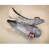 LOUIS VUITTON Monogram Denim Flats (Size:37 1/2)