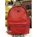 MCM Red Leather Large Backpack