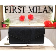 CHRISTIAN DIOR Black Leather Diorissimo Slim Envelope Wallet