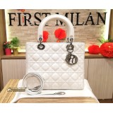 CHRISTIAN DIOR Medium Lady Dior White Lambskin