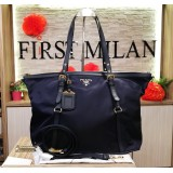 PRADA Tessuto Nylon Blue Shopping Tote