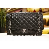 CHANEL Maxi Caviar Double Flap Bag (SHW)