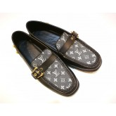 LOUIS VUITTON Blk Mini Lin & Leather Loafer (S:35 1/2)