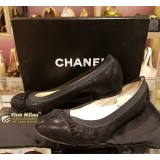 CHANEL Black Ruffle Pumps Ballet Flats (S:37 1/2)