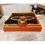 HERMES Clic H Enamel Bracelet PM With Gold Plated Hardware