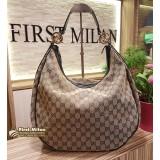 GUCCI Ebony GG Canvas Twins Large Hobo Bag