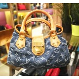 LOUIS VUITTON Denim Pleaty Handbag